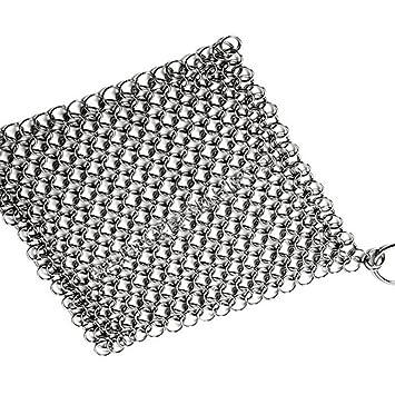angogo hierro fundido Cleaner Premium acero inoxidable cadena Mail estropajo para limpiar de hierro fundido sartén utensilios de cocina Pan Wok y Plancha: ...