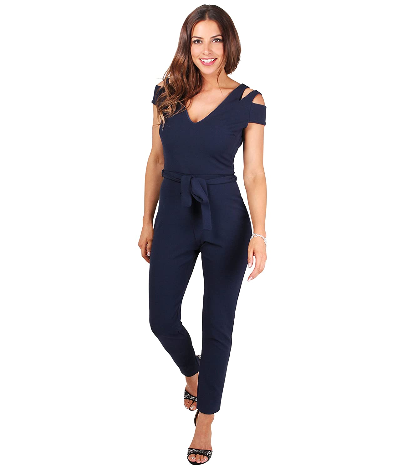 Navy Medium KRISP Women Cut Out Shoulder Jumpsuit Summer Outfit