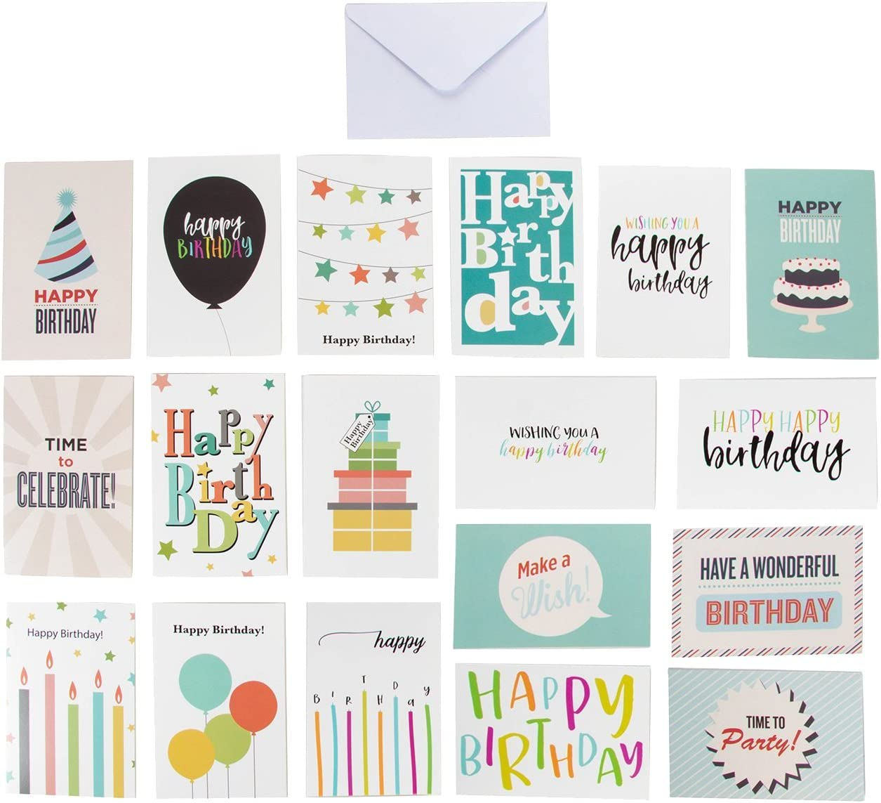 Best Paper Greetings 144 Happy Birthday Cards Assortment with Envelopes, 18 Colorful Designs for Men Women Kids Parents Employees, Bulk Box Set Variety Pack, 4 x 6 Inches