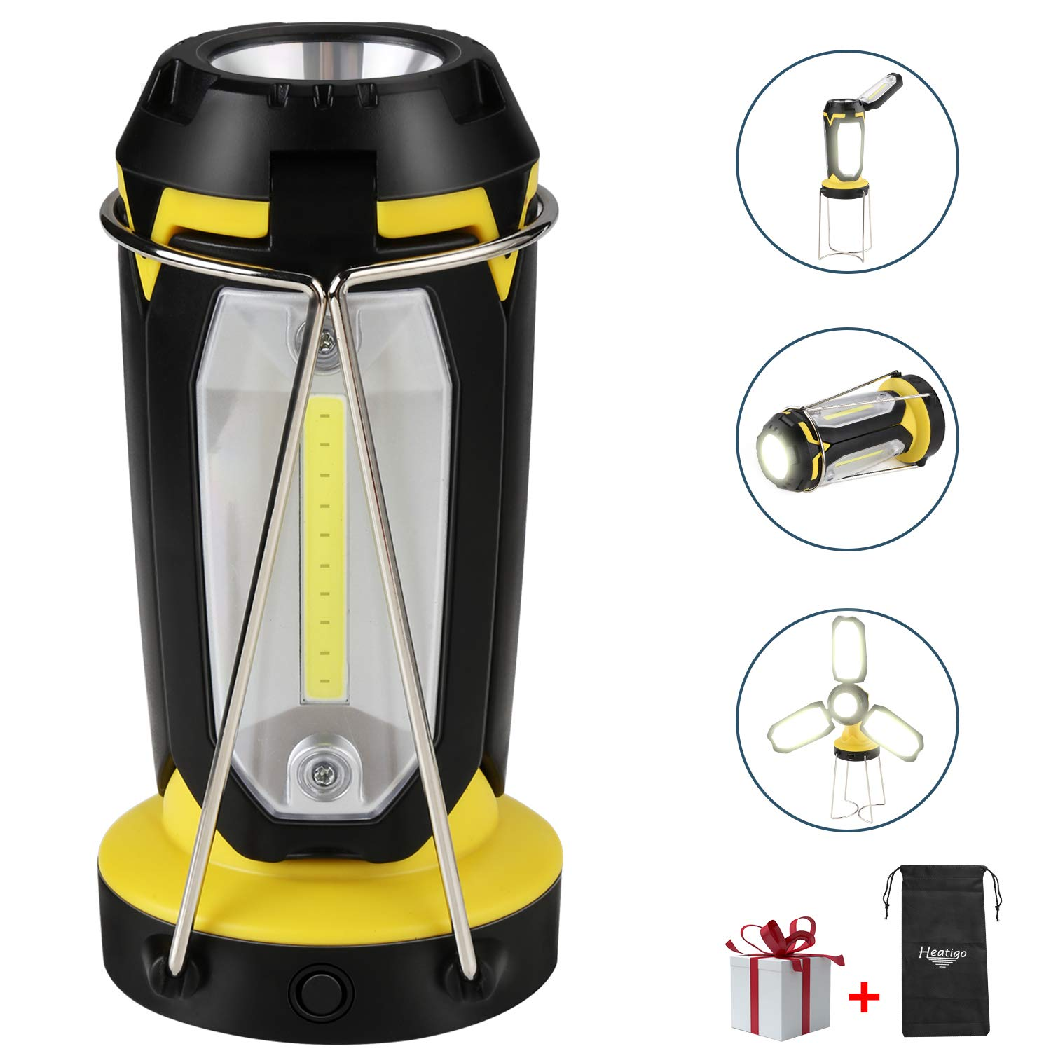 Camping Lantern,Heatigo 2019 Upgrade 2-in-1 LED Foldable Multiple Ways of Lighting Camping Lantern/&Power Bank Charger,USB Charging Outdoor Searchlight for Emergency,Hiking,Fishing,Power Cuts and More
