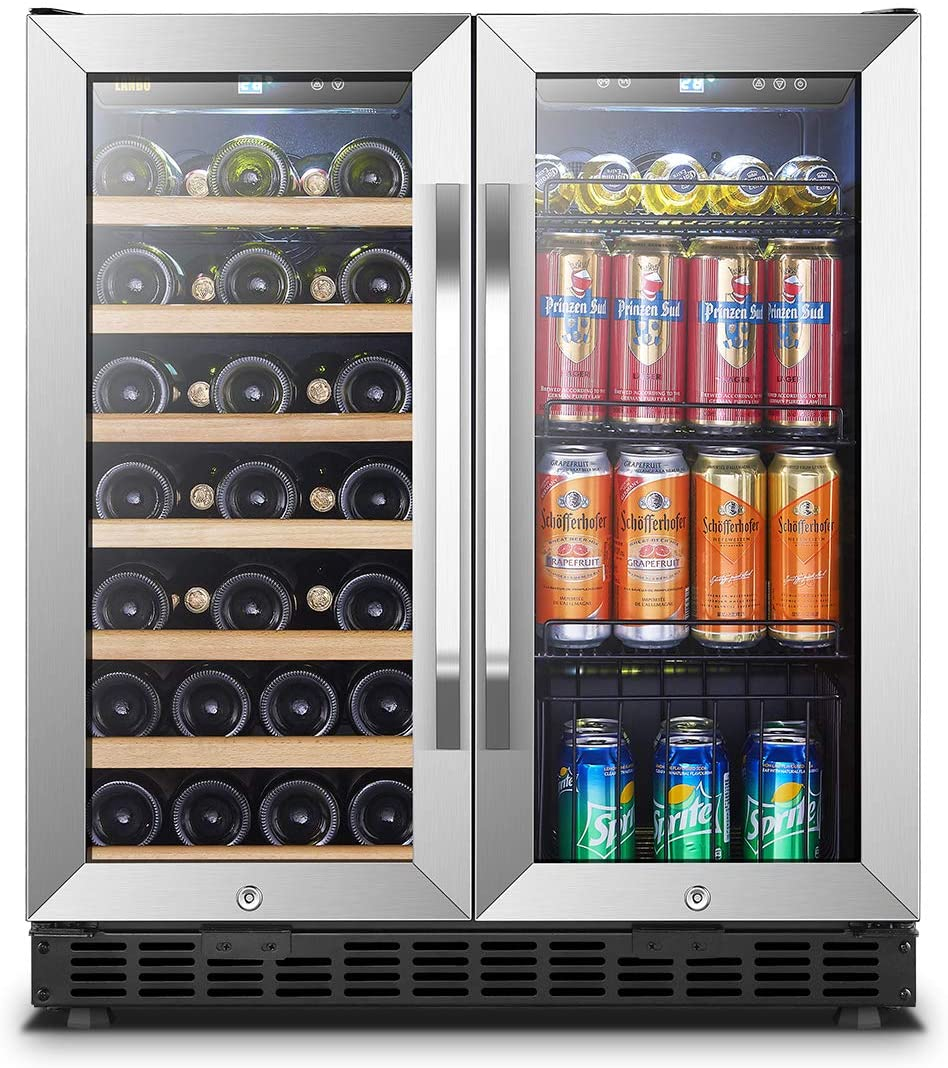 Lanbo 30 Inch Built In Dual Zone Wine And Beverage Cooler 33 Bottle And 70 Can Appliances