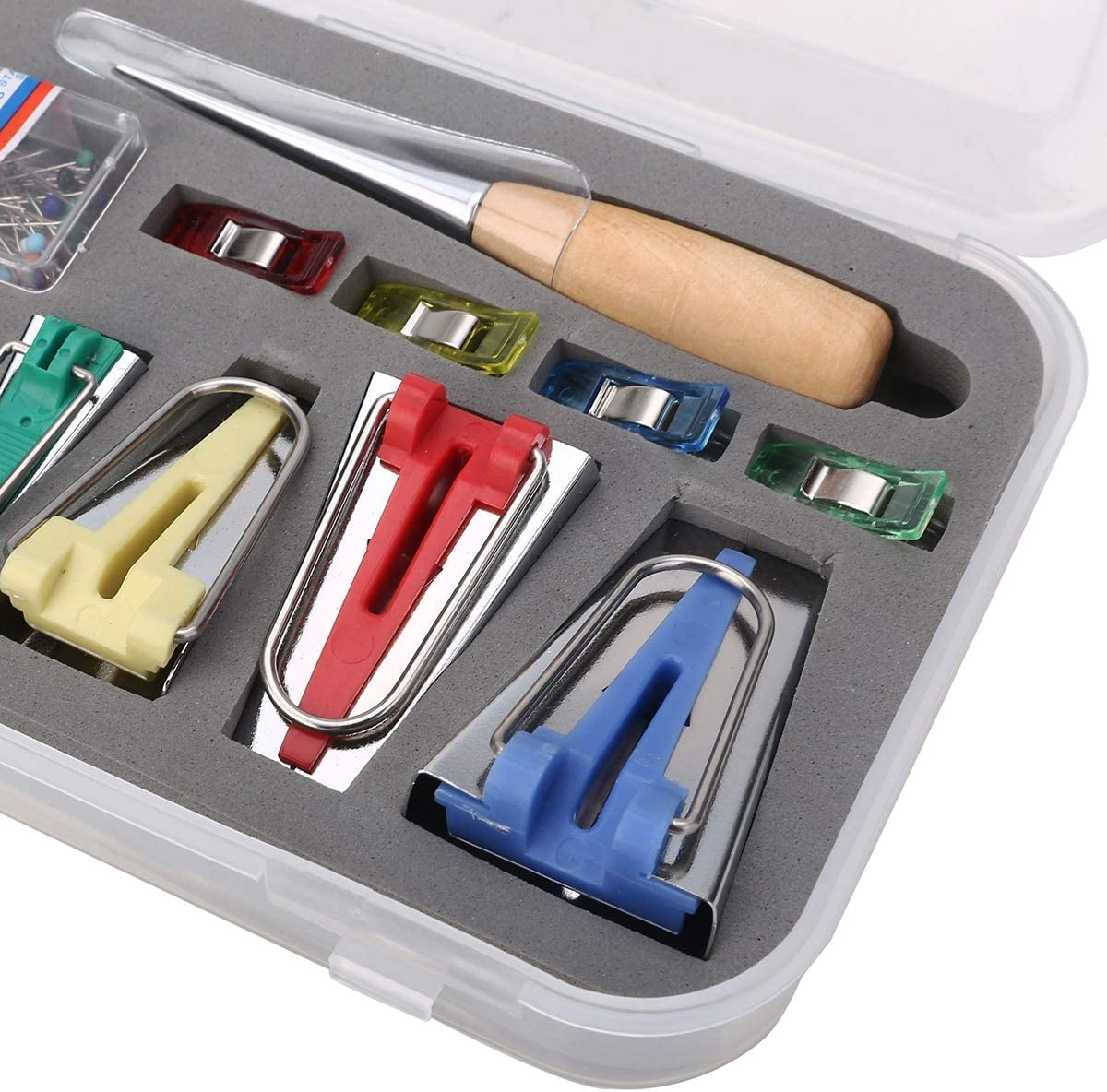 KLYJ 60 pz Tessuto Bias Binding Kit per creatore di Nastri Cartella per Piede Legno Punch Clips Pin Casa Fai da Te Set di Quilt per Cucire