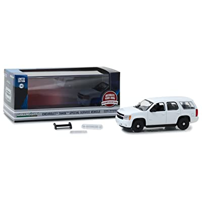 2010-2012 Chevrolet Tahoe Police - Plain White, Officially Licensed, Real Rubber Tires, Protective Acrylic Case, True-to-Scale, Limited Edition (86096): Toys & Games
