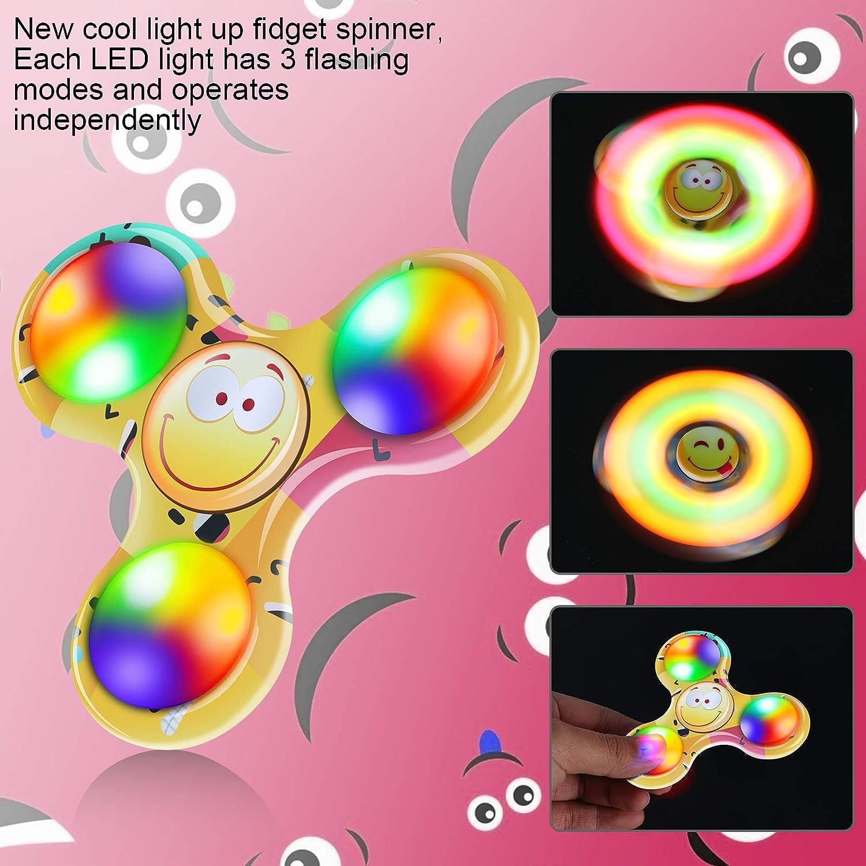 FIGROL Emoji Fidget Spinner,2Pack LED Light Fidget Spinner