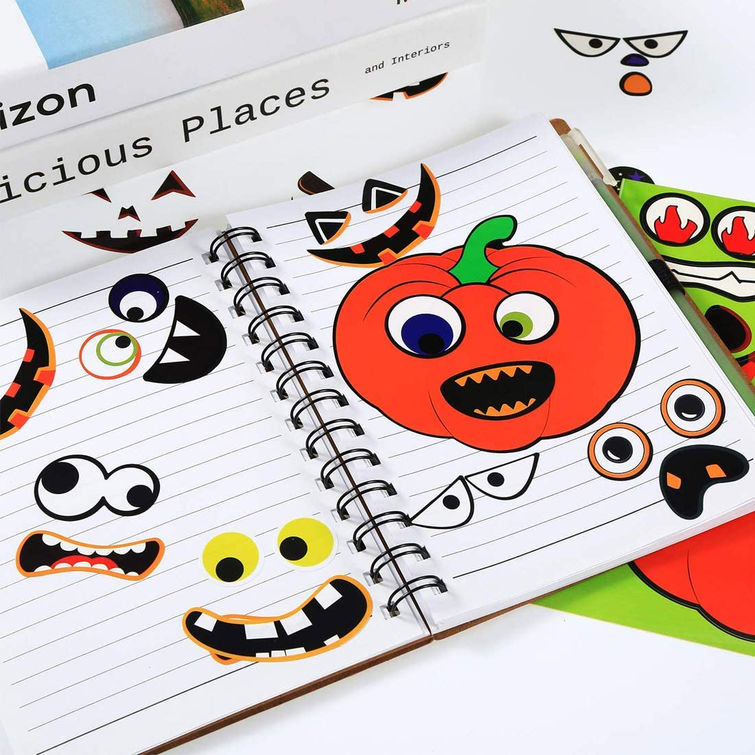 Pumpkin Decorating Craft Decal Kit for Halloween Themed Party Thanksgiving Day 8 Sheet 28 Facial Expressions Halloween Pumpkin Stickers