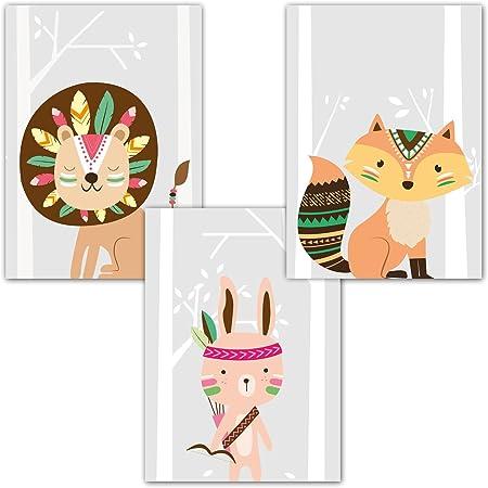 Juego de 3 pósteres, de Frechdax, en formato DIN A4(21cm x 29,7cm) para marcos. Ideal para habita