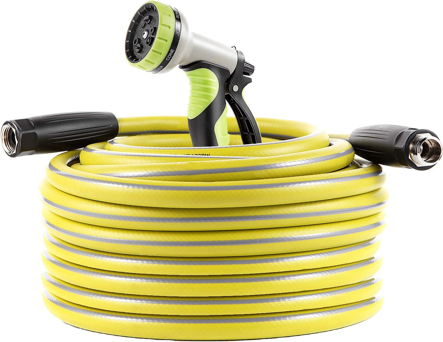 Macuvan Garden Hose 100 ft Heavy Duty-Water Hose with 9 Way Spray Nozzle and Flexible 4 Layers Hybrid-3/4'' Nickel Plated Brass Fittings-5/8'' Inner Core-Lead-Free Outdoor Durable Lightweight Pipe Set
