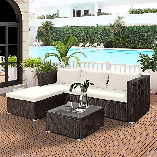 LZ LEISURE ZONE 5-Piece Rattan Patio Furniture Set Wicker Cushioned Garden Patio Sofa Set Sectional Furniture Set