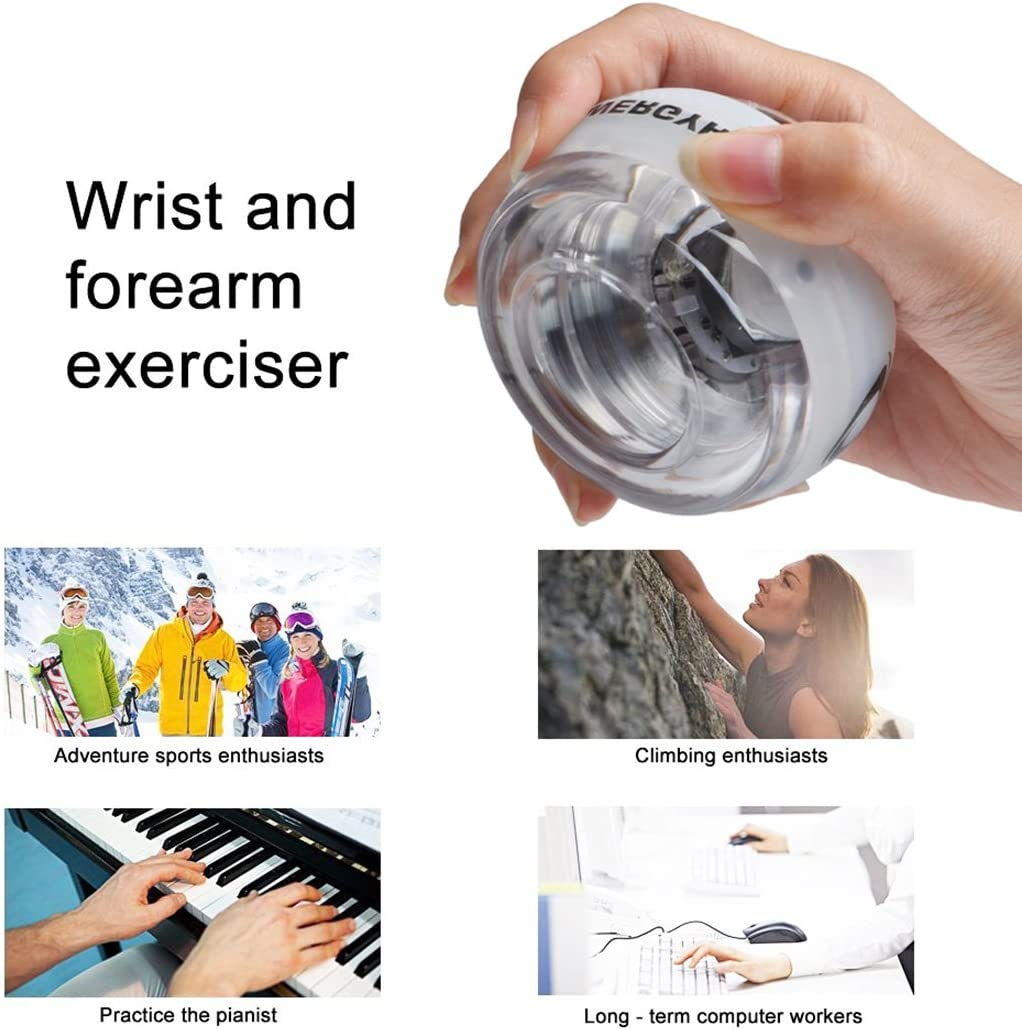 RESBO Handgelenktrainer Ball /Übung Hand Spinner Gyroskop Ball Metall Typ mit LED Licht