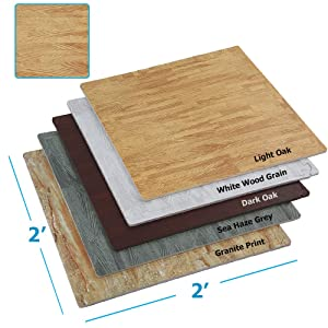 "Clevr 100 sq ft. Interlocking EVA Foam Floor Mat Tiles (24"" x 24"") 25pcs | Protective Flooring| Wood Grain or Granite Print | 1 Year Limited WARRANY"
