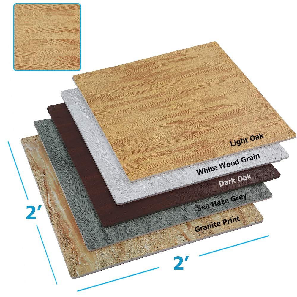 Clevr Interlocking EVA Foam Floor Mat Tiles (24 x 24)   Protective Flooring Home or Tradeshow   Wood Grain or Granite Print   / 100 sq. ft   1 Year Limited Warranty