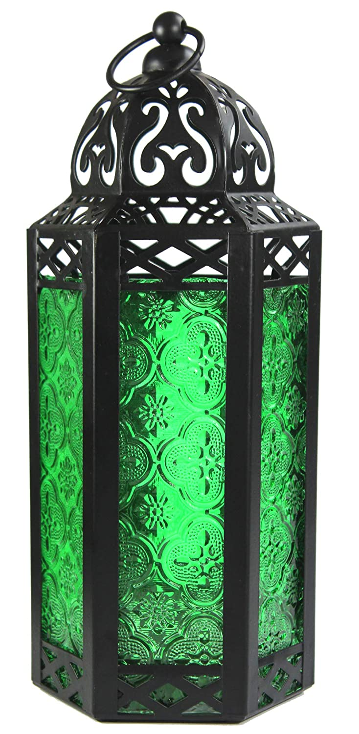 Vela Lanterns Moroccan Style Candle Lantern, Medium, Green Glass