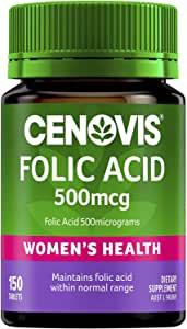 Cenovis Folic Acid 500mcg - Supports healthy foetal development - Supports blood health and general health, 150 Tablets