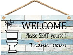 "Calien Funny Bathroom Signs Please Seat Yourself Welcome Sign 13.5"" x 7.5"" Hanging Wall Art Sign Home Bathroom Decor"