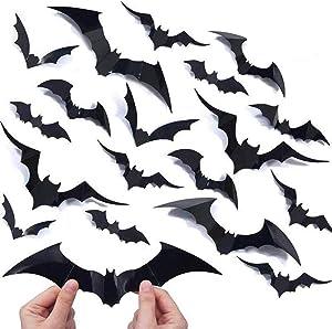 Halloween Decorations Bat Wall Decals Stickers Decor 48pcs, Extra Large 3D Bats Window Decals, Bat Halloween Door Decor