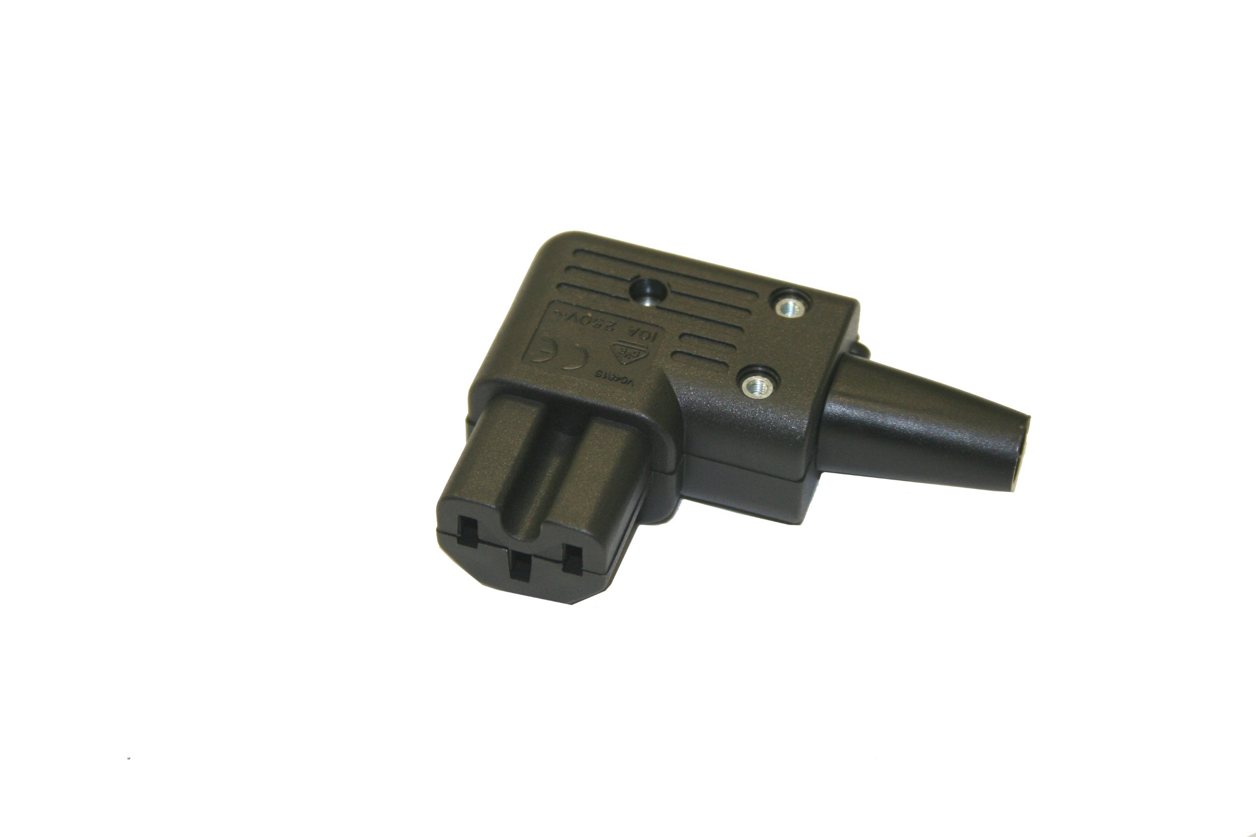 Interpower 83012720 IEC 60320 C15 Angled Hot Rewireable Connector, IEC 60320 C15 Socket Type, Black, 10A/15A Rating, 250VAC Rating