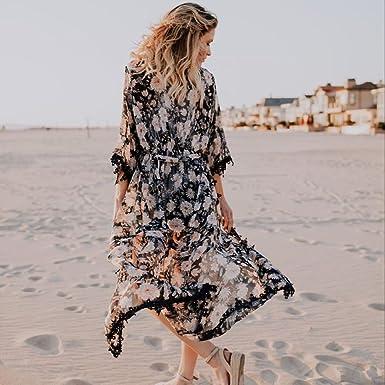 ... Strand Badeanzug Kittel Mädchen Strickjacke Floral Blusen Beach Bikini  Vertuschung Kimono Sonnenschutz Tops Chiffon Shirts Coat  Amazon.de   Bekleidung 3a9f9e2457