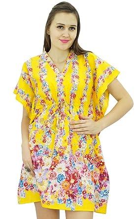Bimba femmes bohème robe imprimée caftan coton tunique courte plage caftan 556875566fe