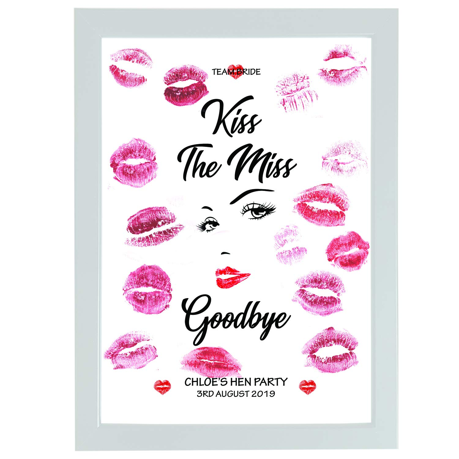 /'KISS THE MISS GOODBYE/' Personalised Bride gift//present Hen Do//Bride to be print