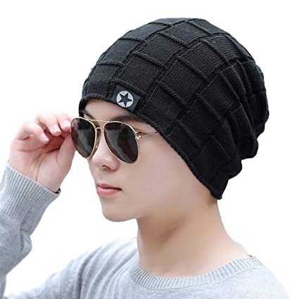 Buy iSweven Fashionable Winter Beanie Woolen Cap for Mens - Black ... 7732a5b80eb