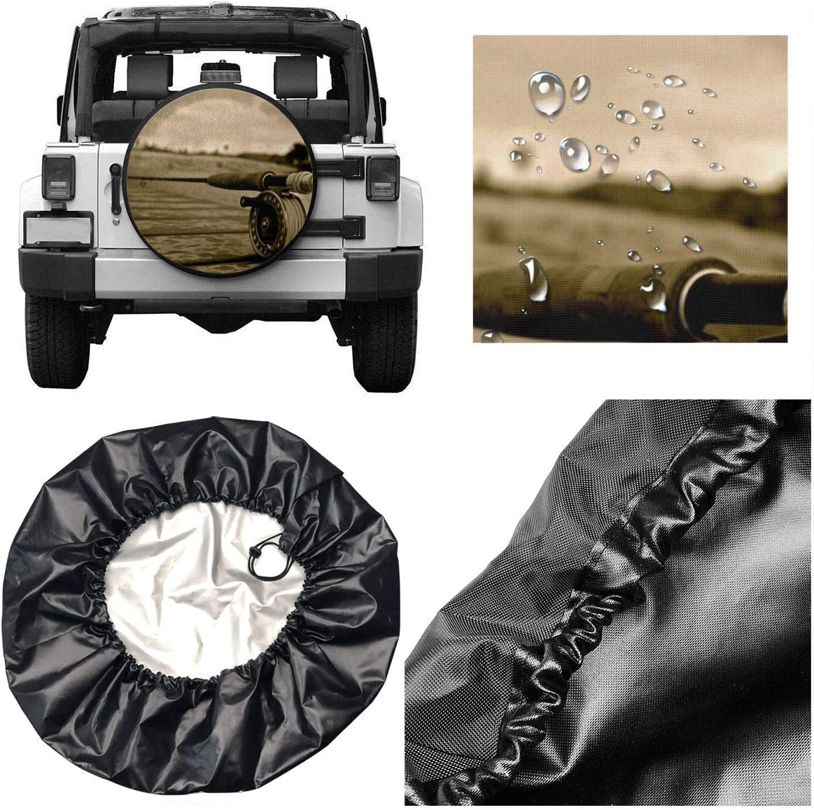 RV Je45if-Q Spare Tire Cover Artistic Fly Fishing Durable Universal Wheel Tire Cover for Trailers Trucks and Many Vehicle, SUV