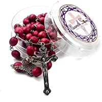 Nazareth Store Rose smell Rosary Petal Red Rare Carved Beads & Silver Plated cross (Holy Land)