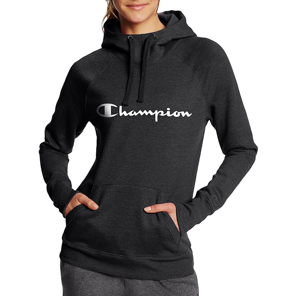 チャンピオン レディース フリース プルオーバー パーカー B073R2S8JM X-Large|Black/Champion Script Black/Champion Script XLarge