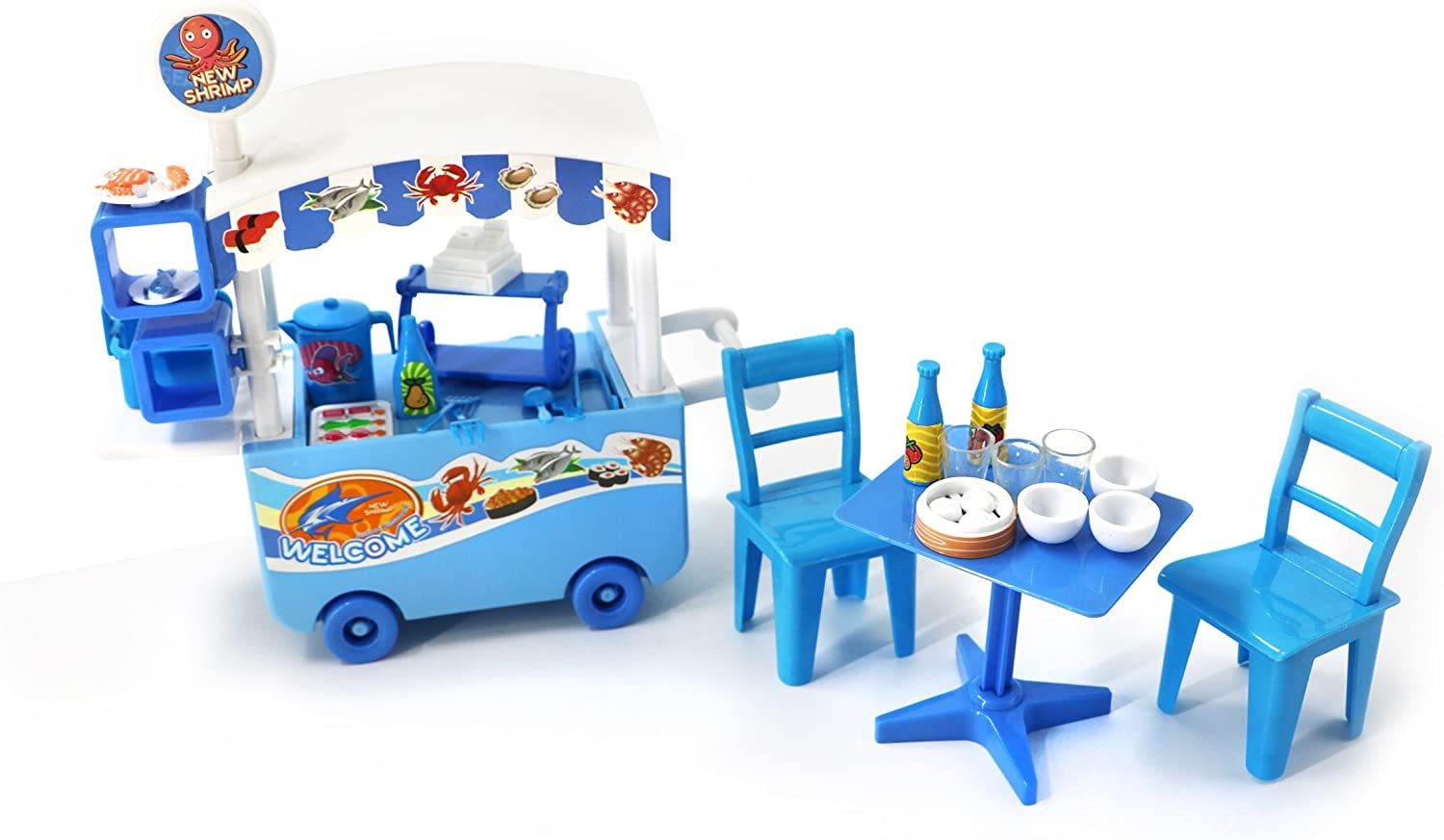 Toyzabo Seafood Truck Toy Seafood Toy Food Truck Food Truck Toys for Toddlers Toys Food Truck Food Toy Truck Food Truck Toys for Kids Great Gift for Christmas, Holidays, Birthdays for Boys and Girls