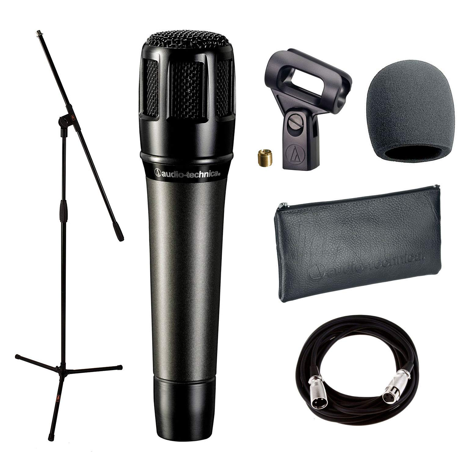Audio-Technica ATM650 Dynamic Hypercardioid Instrument Microphone + with Mic Clamp & Pouch + Mic Stand + Mic Cable, 20 ft. XLR & Foam Windscreen by Audio-Technica
