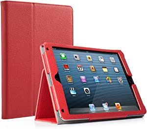 RUBAN Case Compatible with iPad 9.7 Inch 2018/2017/iPad Air 2/iPad Air - [Corner Protection] - [Scratch-Resistant] Premium PU Leather Folio Smart Stand Cover w/Auto Sleep/Wake, Ruby Red