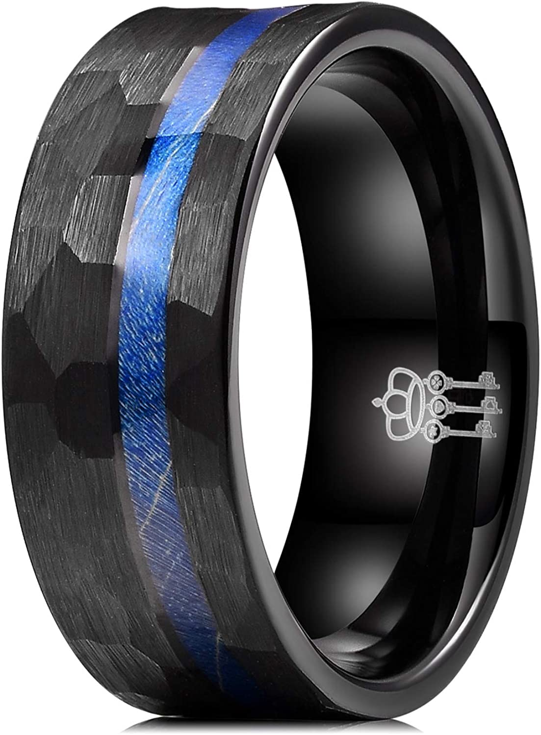 THREE KEYS JEWELRY 8mm Mens Black Silver Hammered Tungsten Ring with Blue Dyed Wood Infinity Unique Burshed Wedding Bands