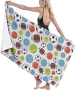 CASU Beach Towel Deportes Bolas Patrón Resumen Baloncesto Fútbol Toalla de Playa Microfibra Súper Absorbente Personalidad Toalla de baño Secado rápido Manta de Playa