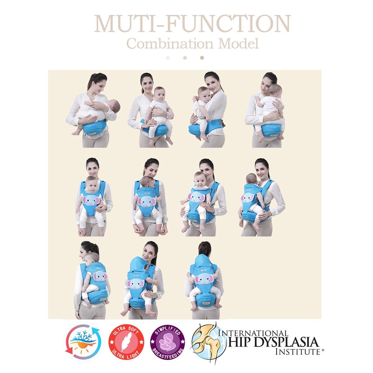 SONARIN 3 en 1 de dibujos animados multifunción Hipseat Baby Carrier, Portador de bebé,ergonómico,un tamaño para todos,Adaptado al crecimiento de su ...