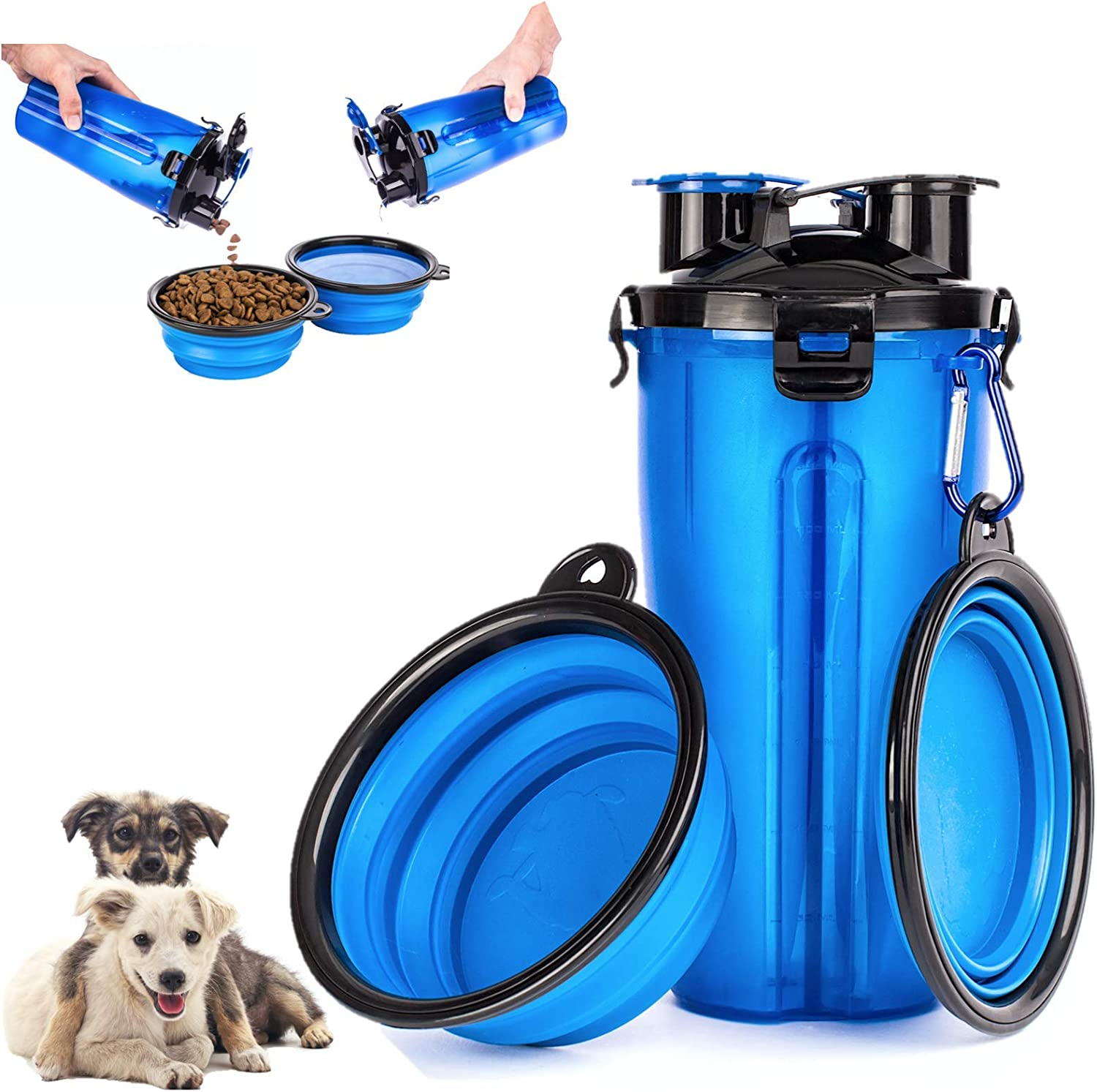 MelPet Portable Dog Water & Food Bottle with 2 Collapsible Bowls for Travelling Outdoor Water Dispenser and Food Container, Light Weight Easy to Clean