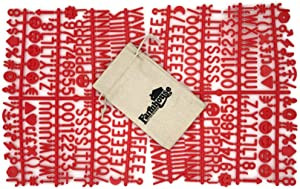 "Red Letter Set for Changeable Felt Letter Boards, 1"" 340 Characters (Includes Letters, Symbols/Emojis, Numbers, Punctuation) & Burlap Storage Bag (Red)"