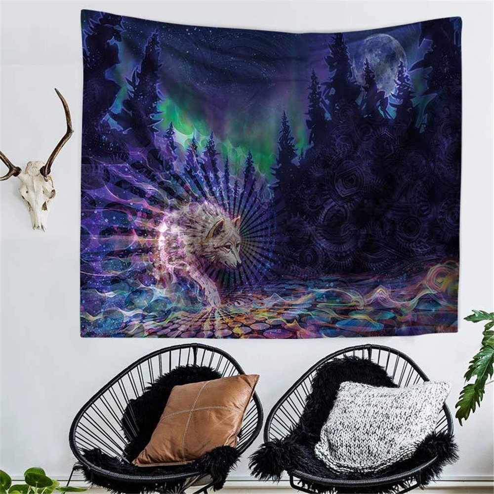 RFVBNM Tapestry,bedspread,Wall murals,Wall Decor Fabric Modern Wall Art,bed Cover,Room divider,curtain,tablecloth,Picnic blanket,Bohemian Abstract Buddha Wolf printing Tapestry,Hippie,200150cm