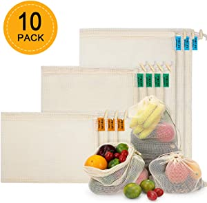 Reusable Produce Bags 10 PCS, Organic Cotton Mesh Bags for Fruit and Veg Grocery Shopping and Storage, (S, M, L)