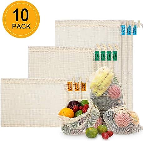Lavable NEWSTYLE Sacs R/éutilisables /à Fruits et L/égumes,Sac de Provisions en Coton Lot de 10 Sacs /à Grille,R/ésistant L/éger 3*S, 4*M, 3*L Double Piqu/é avec /étiquette de Poids de Tare