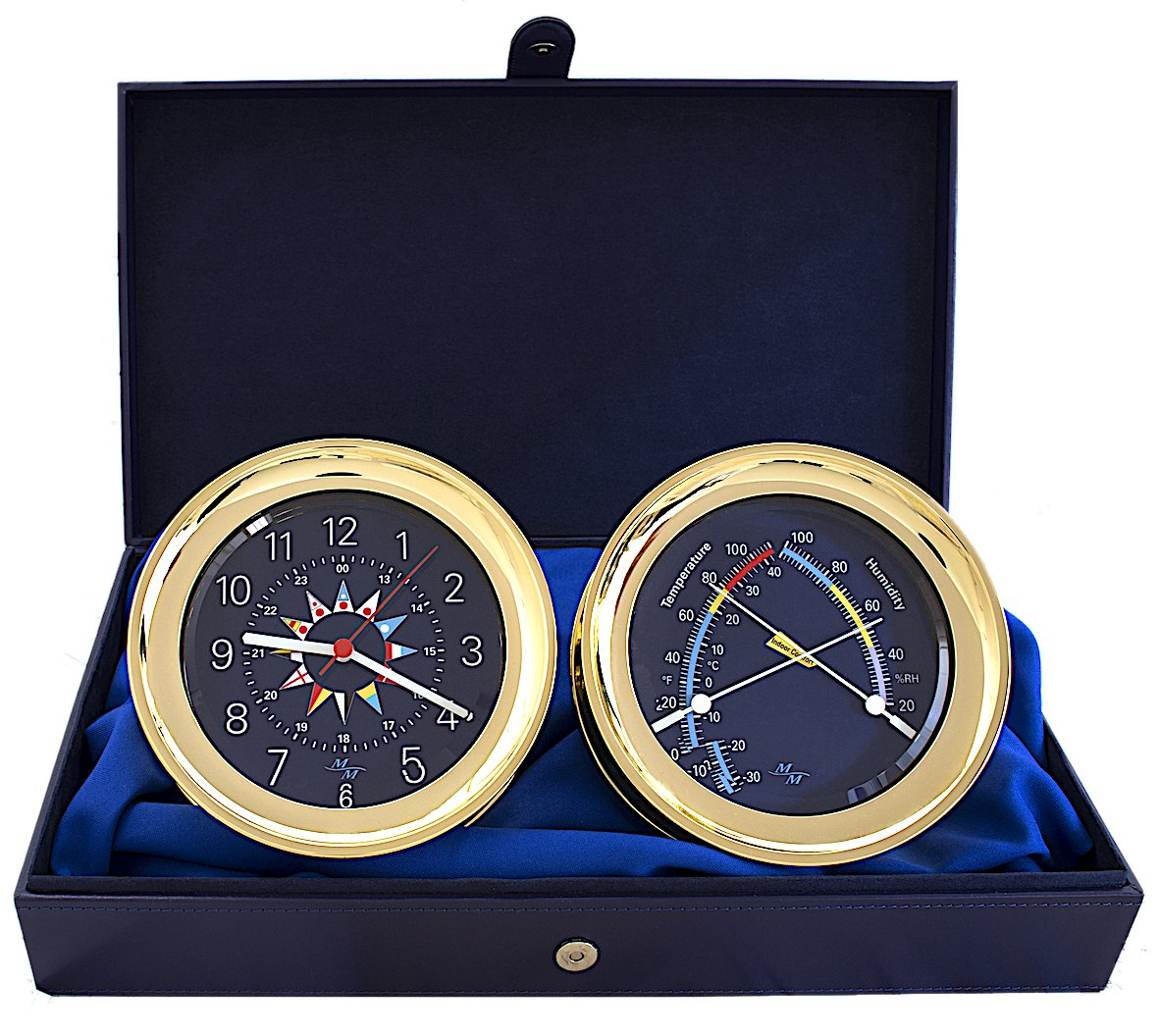 "MASTER-MARINER USA Blue Mariner Collection, Nautical Windlass Gift Set, 5.85"" Diameter Clock and Comfort Meter Instruments, Gold Tone Finish, Blue Signal Flag DIal"