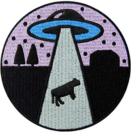 Get in Alien Love Cow Patch Embroidered Badge Iron On Sew On Emblem
