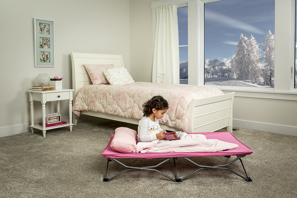 Regalo My Cot Portable Toddler Bed Includes Fitted Sheet And Travel Case Pink