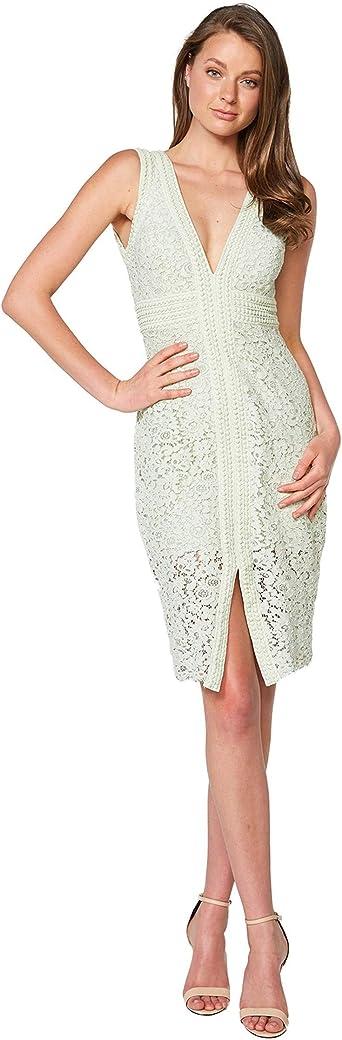 Bardot Halter Lace Dress Pistachio SM: Odzież