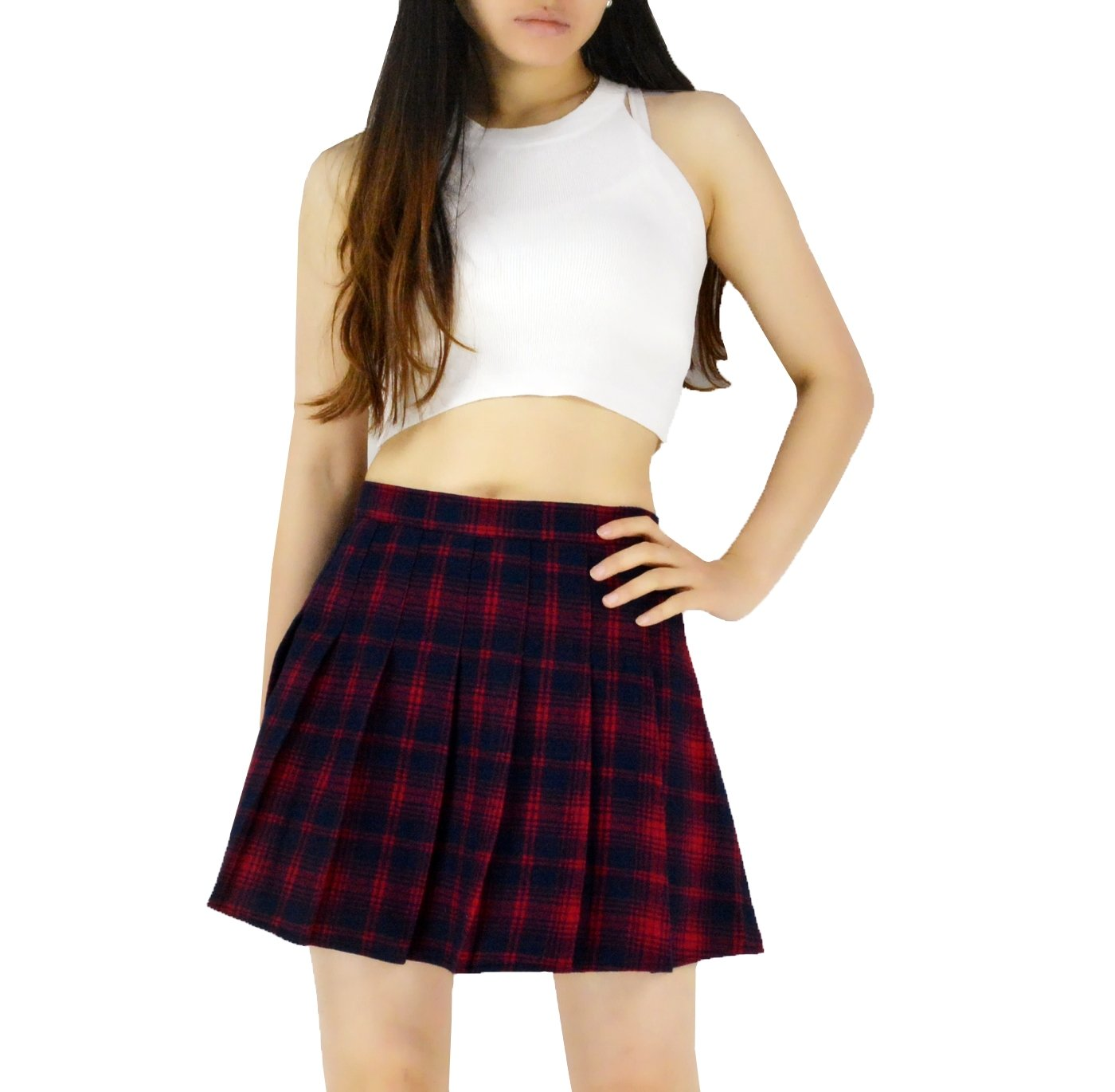 YSJERA Lady's Flared Check Plaid Pleated A-Line Short Mini Skater Skirts (S, Red)