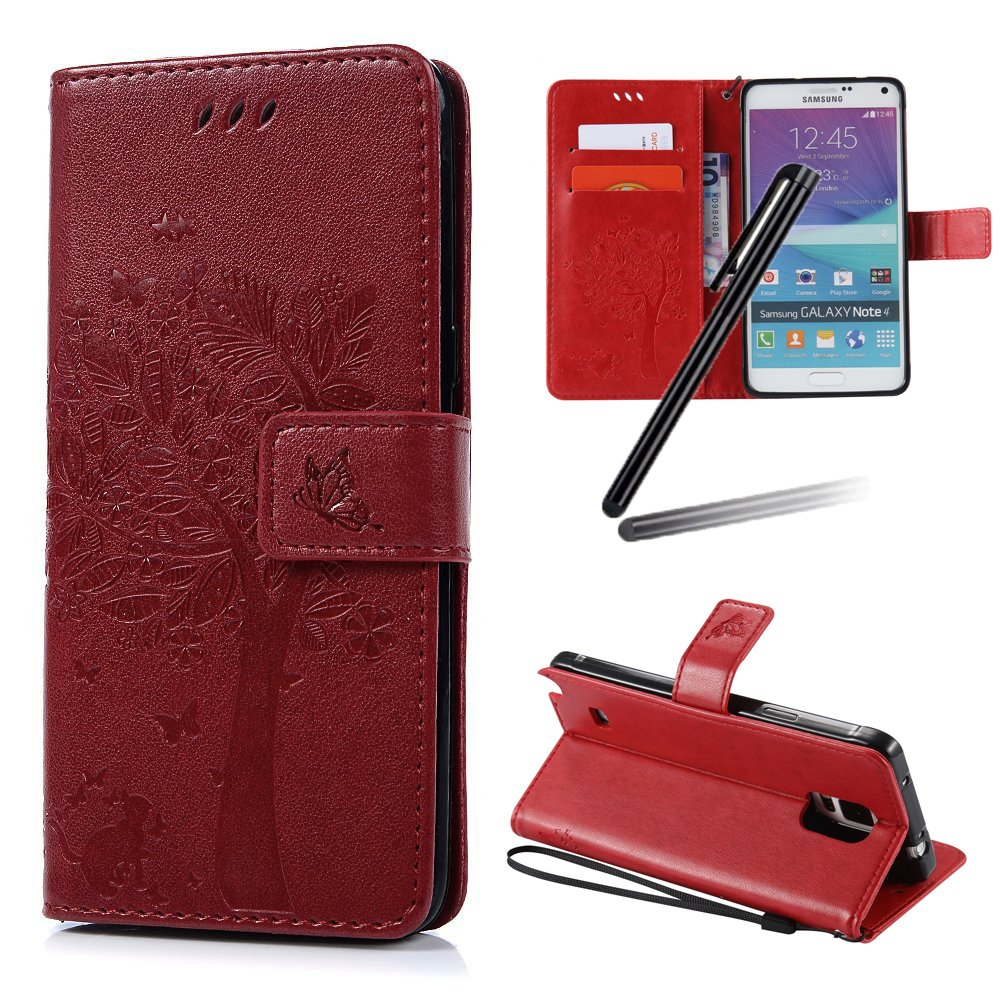 Galaxy Note 4 Case, Galaxy Note 4 Stand Case Girl, Samsung Note 4 Wallet Leather Cover, SKYMARS Tree Cat Embossing Synthetic PU Leather Fold Wallet Pouch Case Wallet Flip Stand Credit Card ID Holders Protective Case Cover for Samsung Galaxy Note 4 Tree Bla