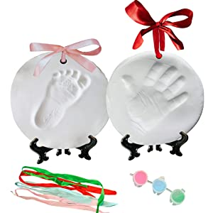 Baby Handprint Kit Footprint Ornament Keepsake (Newborn Bundle) 2 EASELS, 4 Ribbons & 3 Paint Tubes Clay Casting Kit Baby Boy Girl (Deluxe Clay Keepsake Kit) (Deluxe Clay Keepsake Kit)