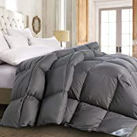 ROSECOSE Luxurious All Seasons Goose Down Comforter Duvet Insert 1200 Thread Count 750+ Fill Power 100% Cotton Shell Hypo-allergenic Down Proof with Tabs