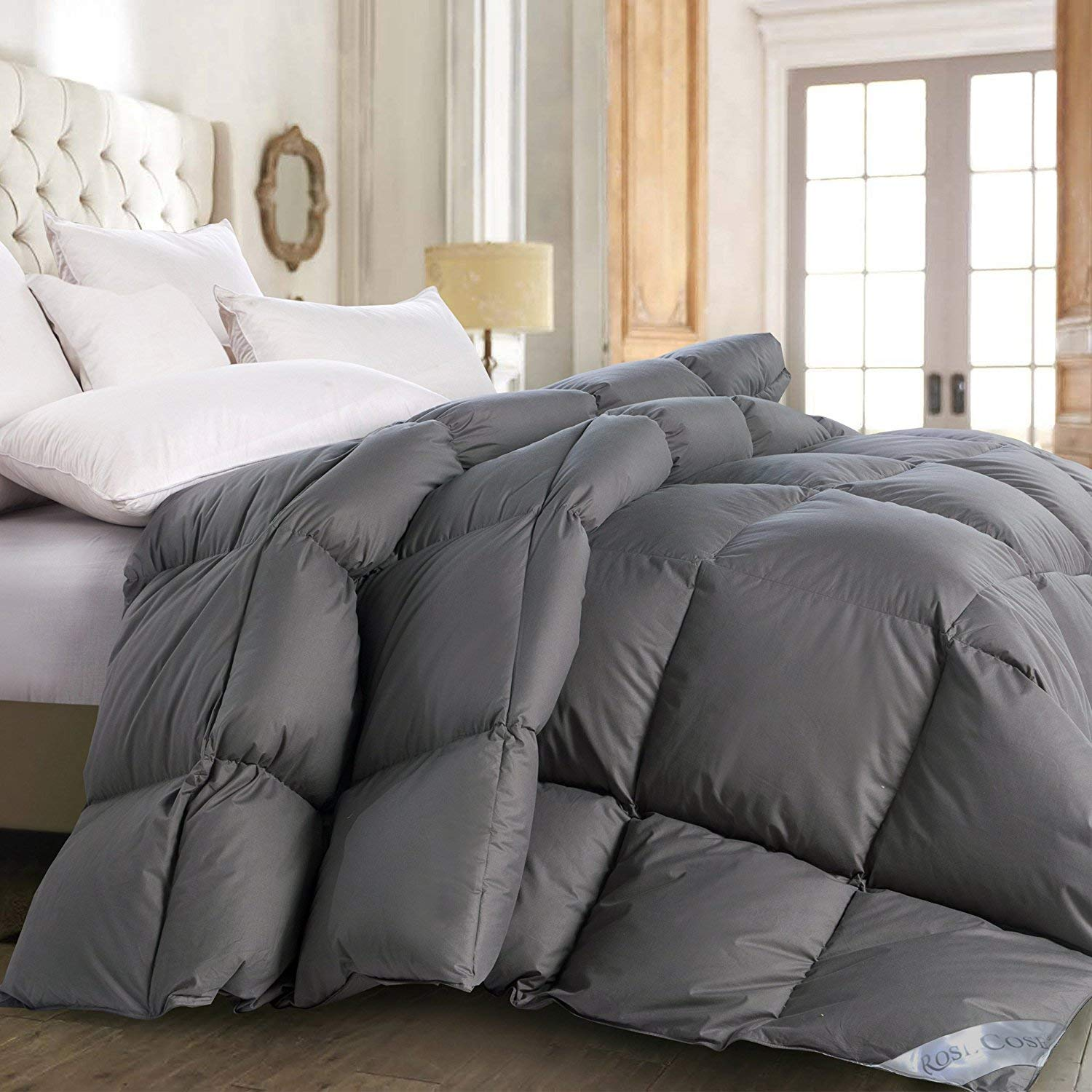 ROSECOSE Luxurious All Seasons Goose Down Comforter Queen Size Duvet Insert Gray 1200 Thread Count 750+ Fill Power 100% Cotton Shell Hypo-allergenic Down Proof with Tabs (Queen, Gray)