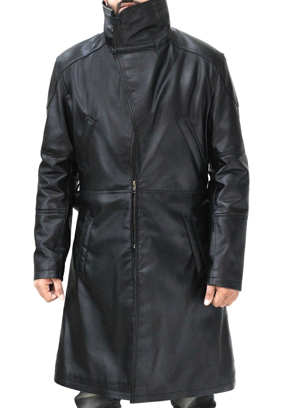 Fur Lapel Officer K Trench Ryan Black Blade Leather Runner Coat