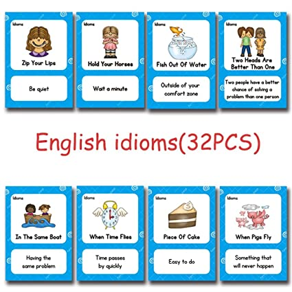 Richardy 32Pcs/Set English Proverb Idioms Kids English Flash Cards Pocket  Card Educational Learning Toys For Children