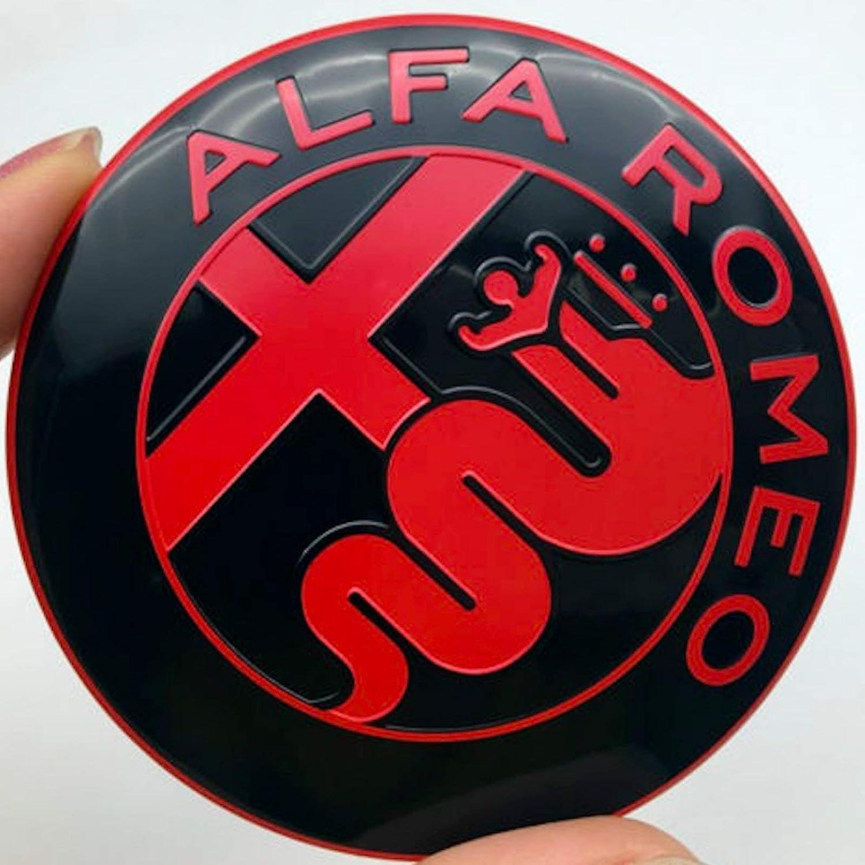 2 Regi Stemma Alfa Romeo Schwarz und Rot Logo 74 mm Motorhaube hinten Emblem Red and Black 147 156 159 Brera Mito Metall